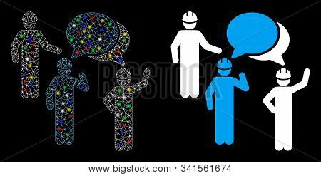 Glossy Mesh Engineer Persons Forum Icon With Glare Effect. Abstract Illuminated Model Of Engineer Pe