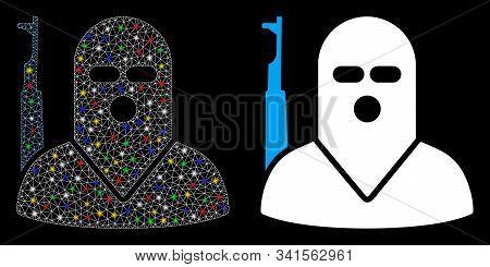 Glowing Mesh Terrorist Icon With Glare Effect. Abstract Illuminated Model Of Terrorist. Shiny Wire C
