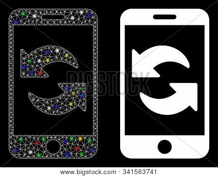 Glossy Mesh Refresh Smartphone Icon With Lightspot Effect. Abstract Illuminated Model Of Refresh Sma