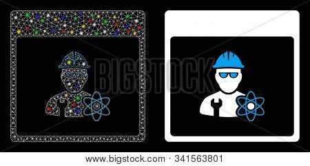 Glossy Mesh Atomic Engineer Calendar Page Icon With Sparkle Effect. Abstract Illuminated Model Of At