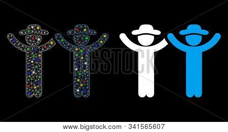 Glossy Mesh Hands Up Gentlemen Icon With Lightspot Effect. Abstract Illuminated Model Of Hands Up Ge