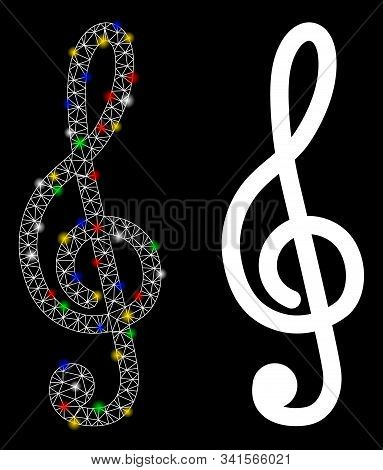 Glowing Mesh Treble Clef Icon With Lightspot Effect. Abstract Illuminated Model Of Treble Clef. Shin