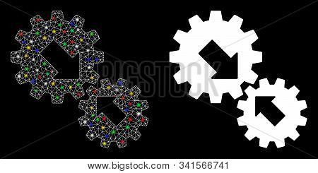 Glossy Mesh Integration Gears Icon With Glow Effect. Abstract Illuminated Model Of Integration Gears