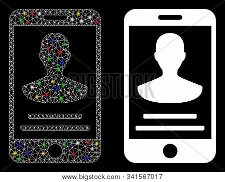 Glowing Mesh Mobile Person Details Icon With Glare Effect. Abstract Illuminated Model Of Mobile Pers