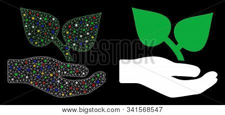 Flare Mesh Flora Care Hand Icon With Glow Effect. Abstract Illuminated Model Of Flora Care Hand. Shi