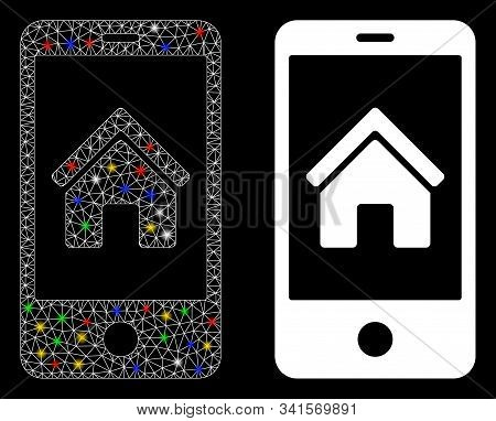 Glowing Mesh Smartphone Homepage Icon With Glare Effect. Abstract Illuminated Model Of Smartphone Ho