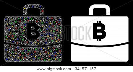 Glossy Mesh Bitcoin Accounting Case Icon With Lightspot Effect. Abstract Illuminated Model Of Bitcoi