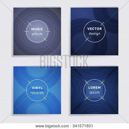 Cool Vinyl Records Music Album Covers Set. Semicircle Curve Lines Patterns. Tech Creative Vinyl Musi