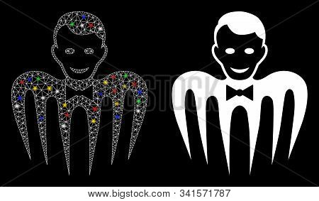 Flare Mesh Croupier Monster Icon With Glitter Effect. Abstract Illuminated Model Of Croupier Monster