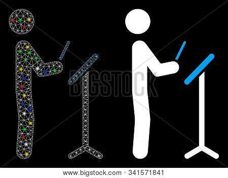 Glossy Mesh Concert Conductor Icon With Glow Effect. Abstract Illuminated Model Of Concert Conductor