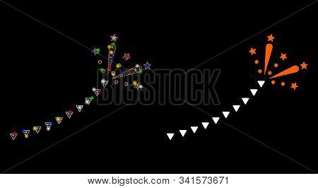 Glossy Mesh Fireworks Trace Icon With Glare Effect. Abstract Illuminated Model Of Fireworks Trace. S
