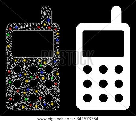 Glossy Mesh Portable Radio Transmitter Icon With Glow Effect. Abstract Illuminated Model Of Portable