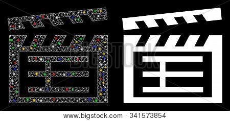 Flare Mesh Movie Clap Icon With Lightspot Effect. Abstract Illuminated Model Of Movie Clap. Shiny Wi