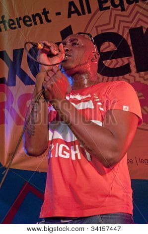 Myron from South West of England based band Freshly Squeezed performing live in the World Big Top