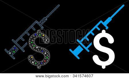 Glowing Mesh Narcotic Business Icon With Lightspot Effect. Abstract Illuminated Model Of Narcotic Bu