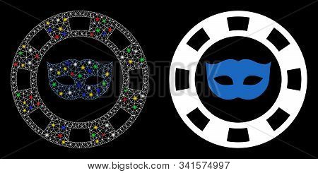 Glossy Mesh Private Mask Casino Chip Icon With Glow Effect. Abstract Illuminated Model Of Private Ma