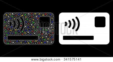 Flare Mesh Contactless Payment Card Icon With Glitter Effect. Abstract Illuminated Model Of Contactl