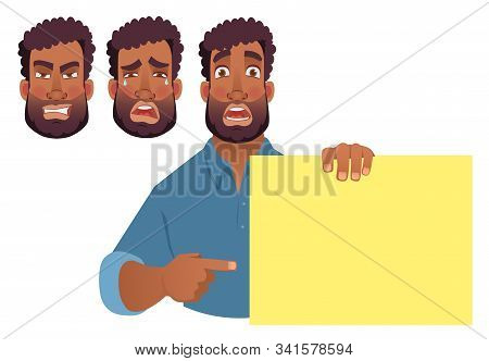 African Man Holding Blank Banner. African American Man With Board. Finger Pointing Vector Illustrati