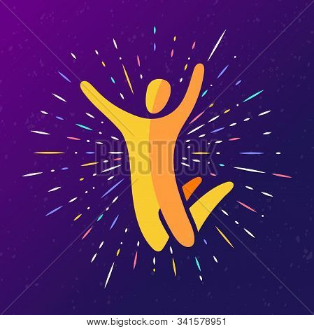 Vector Illustration Of Jumping People, Dance Leap On Dark Background With Rays. Man Woman Kid Silhou