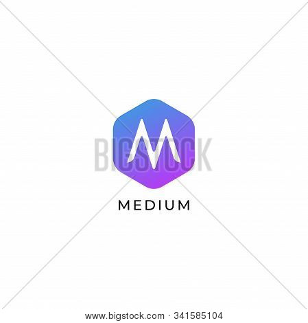 Letter M Logo Design Template, Colorful Hexagon Logo Concept, Simple & Clean, Initial Identity, Mark