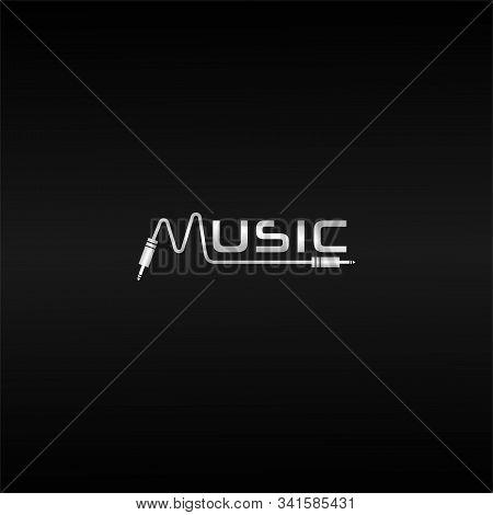 Letter M Cable Jack Initial Logo Concept, Silver Music Wave Logo Design Template, Black Background,