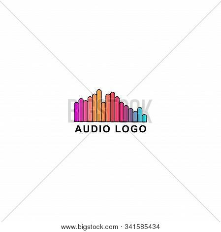 Audio Wave Spectrum Visual Logo, Rounded Spectrum Bar Design Vector, Audio Logo Template, Colorful,