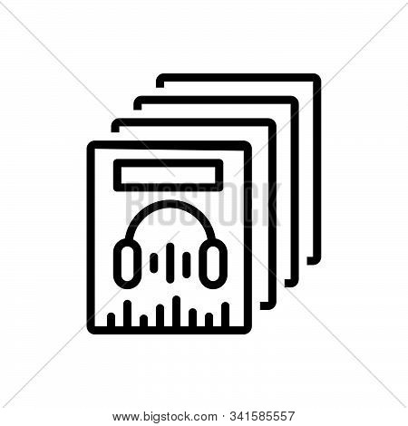 Black Line Icon For Music-collection Accumulation Stockpiling Concentricity Aggregation