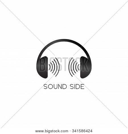 Sound Side Logo, Headphone & Sound Signal Logo Design Concept, Black And White Audio Logo Design Tem
