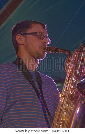 Josef Stout from the Afro-Funk band Bronzehead performing live in the World Big Top