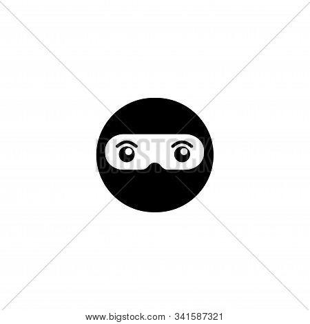 Cute Ninja Head Logo Concept, Black Ninja Design Template, Superhero Character, Kid Ninja Vector Ico