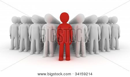 3d people icon leadership and team - 3d render illustration poster