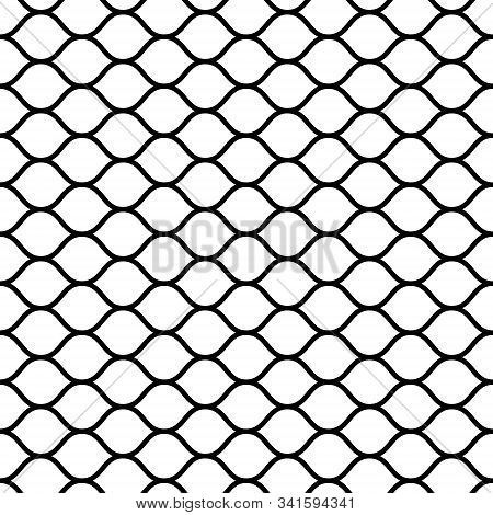 Seamless Mesh Netting With Curved Wavy Lines Bars Vector Grid Netting For Sports Ball Games
