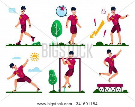 Outdoor Activities And Workouts Types For Healthy Life Trendy Flat Vector Concepts. Man In Sportswea