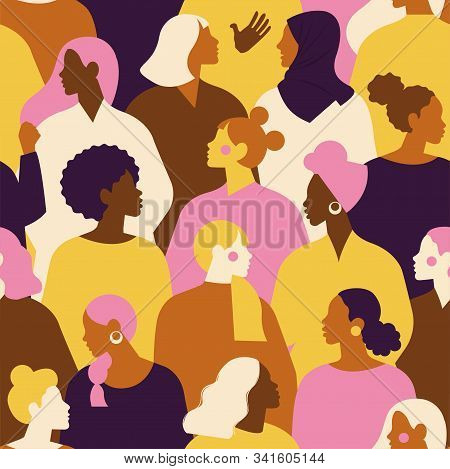 Female Diverse Faces Of Different Ethnicity Seamless Pattern. Women Empowerment Movement Pattern. In