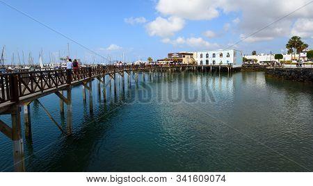 Playa Blanca, Lanzarote, Spain - March 27, 2017: Boardwalk At Marina Rubicon Port At Playa Blanca In
