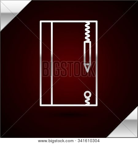 Silver Line Underwater Note Book And Pencil For Snorkeling Icon Isolated On Dark Red Background. Wat