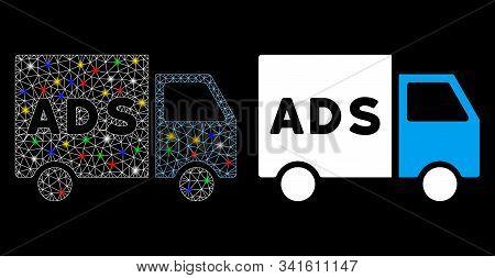 Glossy Mesh Advertisement Van Icon With Glare Effect. Abstract Illuminated Model Of Advertisement Va