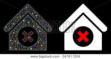 Glossy Mesh Delete Building Icon With Glare Effect. Abstract Illuminated Model Of Delete Building. S