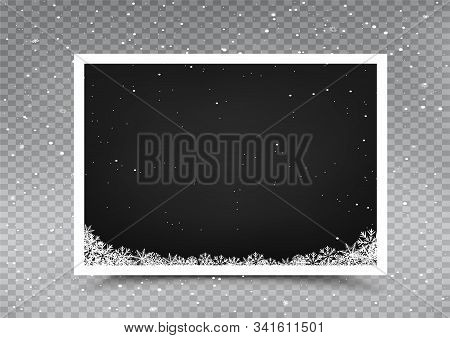 Christmas Snow Empty Photo Frame Template On Falling Snow Gray Transparent Background. Holiday Celeb