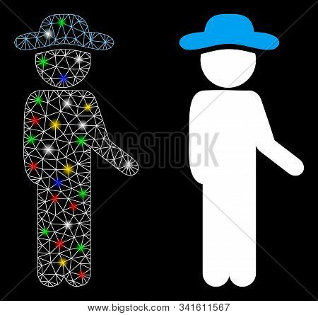 Glossy Mesh Gentleman Idler Icon With Glare Effect. Abstract Illuminated Model Of Gentleman Idler. S