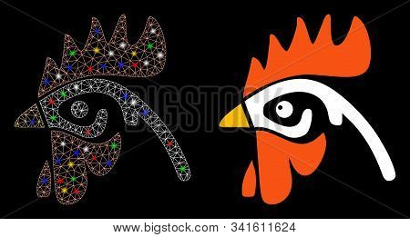 Bright Mesh Cock Head Icon With Glow Effect. Abstract Illuminated Model Of Cock Head. Shiny Wire Fra