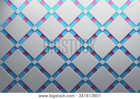 Multi-layered Pattern Surface With Geometric Low Poly Shapes, Squares And Diamonds In White, Pink, B