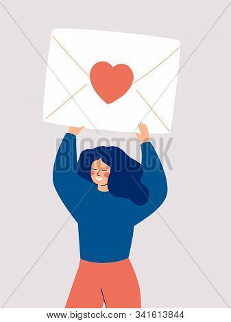 Happy Woman Holding A Big Envelope With A Red Heart Above Her Head Isolated On White Background. Fla