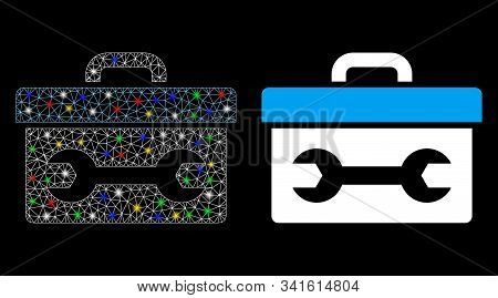 Flare Mesh Toolbox Icon With Glow Effect. Abstract Illuminated Model Of Toolbox. Shiny Wire Carcass