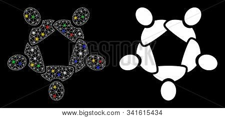 Glossy Mesh Collaboration Icon With Sparkle Effect. Abstract Illuminated Model Of Collaboration. Shi