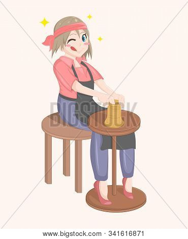 Happy Cartoon Vector Isolated Potter Girl. Cute Woman Sitting And Modeling A Jug Out Of Clay. The Gi