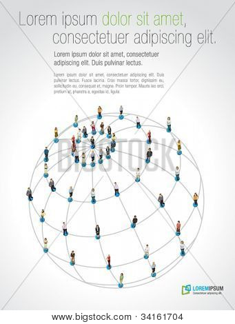 Connected people over earth globe. Social network.