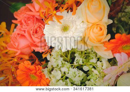 Orange Flower Bouquet For Decoration. Gerbera Rose For Decorating