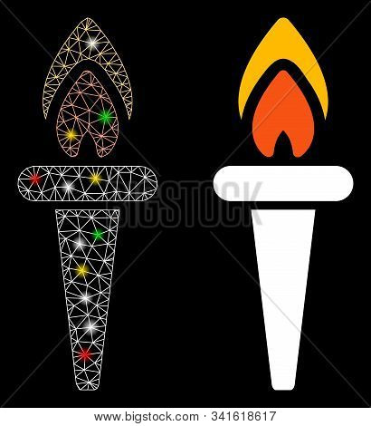 Flare Mesh Fire Torch Icon With Glare Effect. Abstract Illuminated Model Of Fire Torch. Shiny Wire F