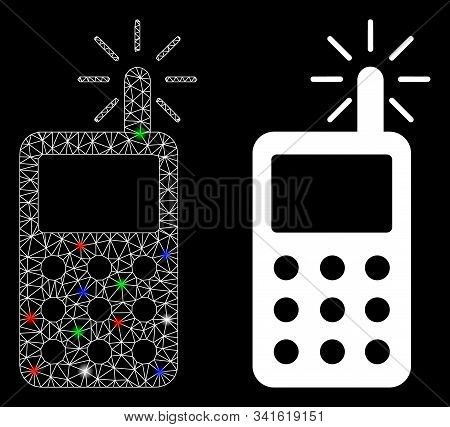 Glowing Mesh Radio Transmitter Radiation Icon With Glare Effect. Abstract Illuminated Model Of Radio